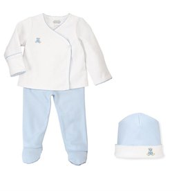 Mud Pie French Knot Blue Bear 2-Pc Set