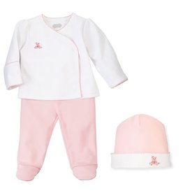 French Knot Pink Bear 2-Pc Set