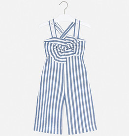 Mayoral Crossback Jumpsuit for Girl (Blue Stripe)