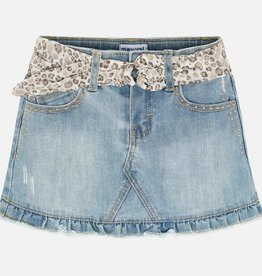 Mayoral Denim Skirt with Print Belt (Bleached)