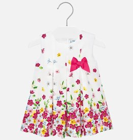 Mayoral Floral Dress With Bow Baby Girl