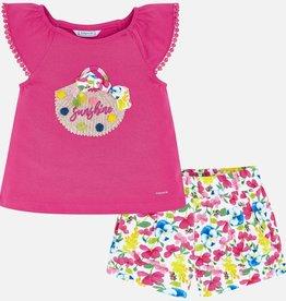 Mayoral Flower Basket Girl Short & Shirt Set (Fuchsia)