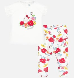 Mayoral Flowered Top & Leggings Set (Red)