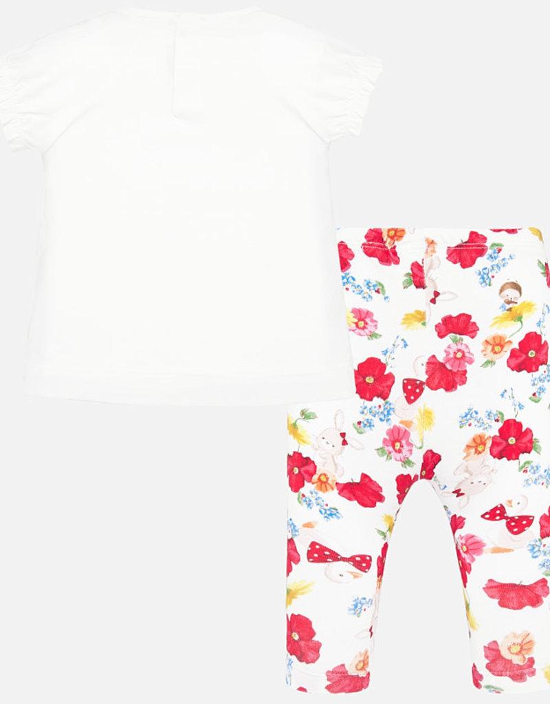 Mayoral Flowered Top & Leggings Set (Red)