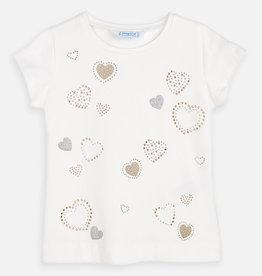 Mayoral Glitter Hearts Shirt (White)
