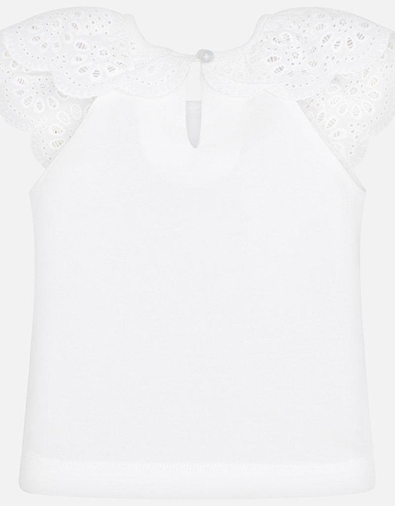 Ruffled Lace Short-Sleeve Girl Shirt (White)