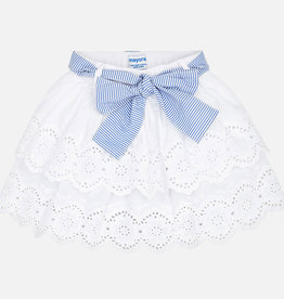 Mayoral Ruffled Lace Skirt with Belt (White)