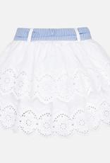 Mayoral Ruffled Lace Skirt with Belt (White)