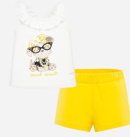 Mayoral Bespectacled Puppy Short & Shirt Set for Baby Girl (Yellow)
