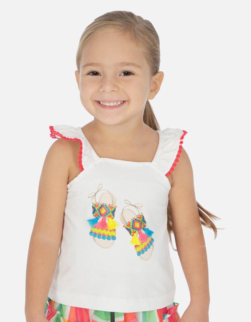 Mayoral Tassled Sandal Graphic Girl Shirt (White)