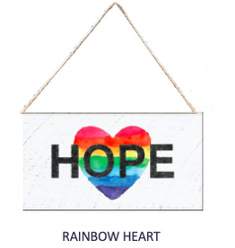 Signs of Hope - Rainbow Hope Heart Mini Plank