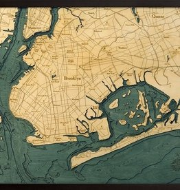 "Woodchart Brooklyn 3-D Nautical Wood Chart, 24.5""W x 31""L"