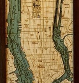 "Woodchart Manhattan/Long Island 3-D Nautical Wood Chart, 13.5""W x 31""L"