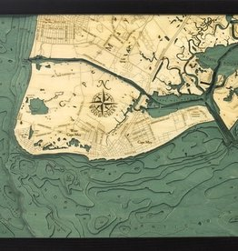 "Woodchart New Jersey Cape May 3-D Nautical Wood Chart 16"" x 20"""