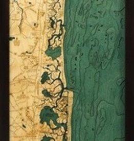 "Woodchart New Jersey South Shore 3-D Nautical Wood Chart, 13.5"" x 43"""