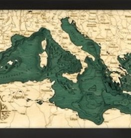 "Woodchart Mediterranean Sea 3-D Nautical Wood Chart 13.5"" x 31"""
