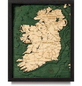 "Woodchart Ireland 3-D Nautical Wood Chart,16"" x 20"""