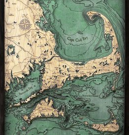 "Woodchart Cape Cod 3-D Nautical Wood Chart 24.5"" x 31"""