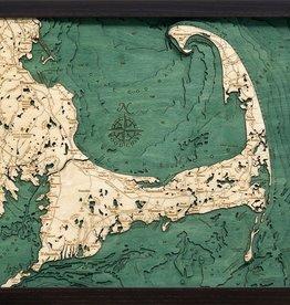 """Woodchart Cape Cod 3-D Nautical Wood Chart 16"""" x 20"""""""