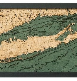 "Woodchart Long Island Sound 3-D Nautical Wood Chart 13.5"" x 31"""