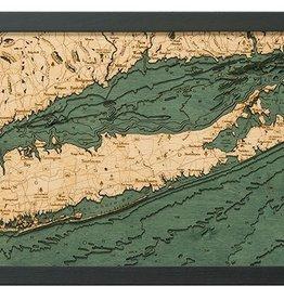 "Woodchart Long Island Sound 3-D Nautical Wood Chart 13.5"" x 31"""