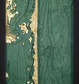 "Woodchart Long Beach Island 3-D Nautical Wood Chart 13.5"" x 43"""
