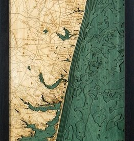 "Woodchart New Jersey North Shore 3-D Nautical Wood Chart, 13.5"" x 43"""