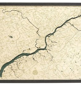 "Woodchart Philadelphia 3-D Nautical Wood Chart, 24.5"" x 31"""
