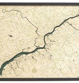 "Woodchart Philadelphia 3-D Nautical Wood Chart, 24.5"" x 31"""
