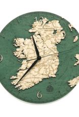 "Woodchart Ireland Engraved Wood Clock, 12"" Diameter"