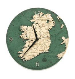 "Woodchart Ireland Engraved Wood Clock, 12"" Diameter"