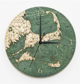 "Woodchart Cape Cod Engraved Wood Clock, 12"" Diameter"