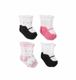Mud Pie Girl Newborn Sock Set, (4 Pairs)