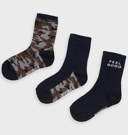 Mayoral Boy Set of 3 Sock Pairs (Navy Camouflage), 2-4 Years