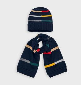 Mayoral Boy Striped Navy Hat & Scarf Set, 2-4 Years