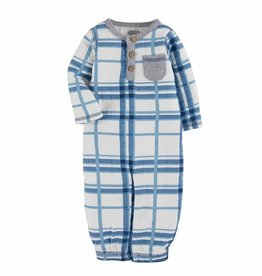 Mud Pie Blue Plaid Muslin Gown, 0-3 Months