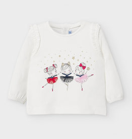 Mayoral Baby Girl T-Shirt with Ruffled Ballerinas