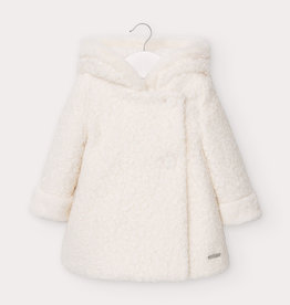 Mayoral Baby Girl Fluffy Coat with Hood (Cream)