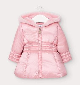 Mayoral Baby Girl Satin Coat with Hood (Pink)