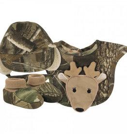 Camo Print Hat, Bib & Sock Set with Deer Applique, 6-9 Months
