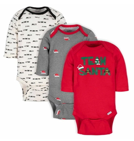 3-Pack Boys Team Santa Long Sleeve Onesies (Newborn)