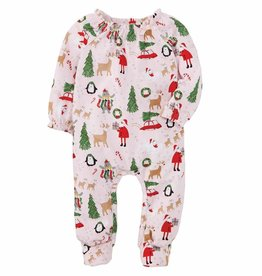 Mud Pie Girl Christmas Print Sleeper