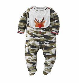 Mud Pie Reindeer Camo Sleeper Bib Set