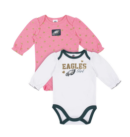 2-Pack Eagles Long Sleeve Girl Bodysuits