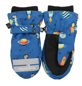 Water Repellant Ski Mittens - Dino Blue