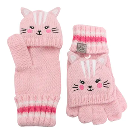 Knit Fingerless Gloves with Flap - Cat