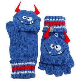 Knit Fingerless Gloves with Flap - Monster