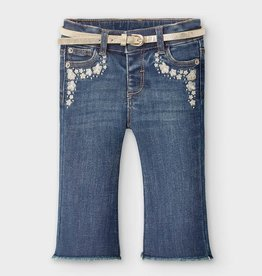 Mayoral Baby Girl Flared Jeans with Applique and Belt