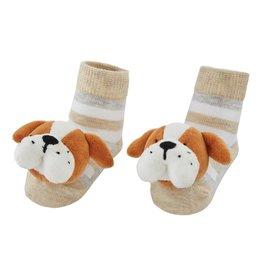 Mud Pie Bulldog Rattle Toe Socks, 0-12 Months