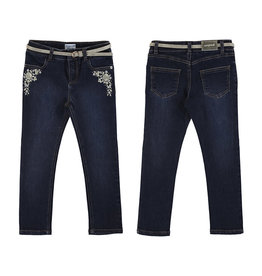 Mayoral Girl Denim Skinny Pants with Metallic Embroidery